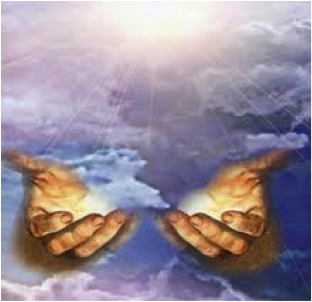 healing hands floating in clouds