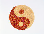 Yin yang with rice and chili, symbolising 'metal'